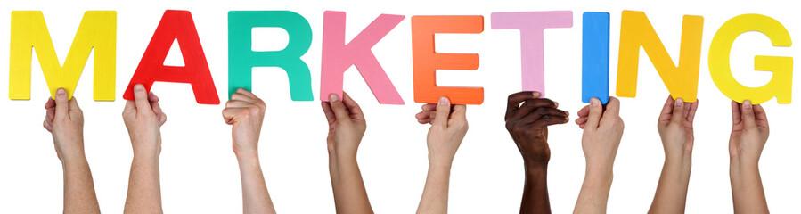Multikulturell People Gruppe halten das Wort Marketing