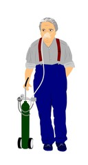 elderly man with oxygen unit and mask over white