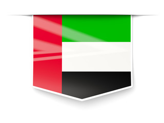 Square label with flag of united arab emirates