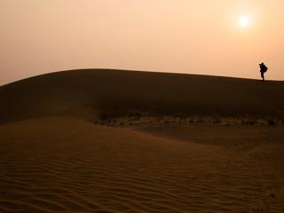 Silhouette photographer at Thar Desert in sunset time, Jaisalmer