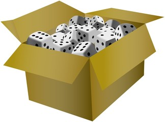 Playing dices in the cardboard box