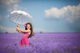 cute little girl lavender field outdoor portrait