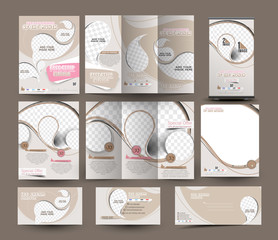 Ice cream store Business Stationery Set Template.