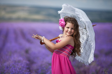 cute little girl lavender field outdoor portrait