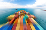 Large container vessel in Singapore ship motion blur