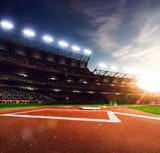 Professional baseball grand arena in sunlight