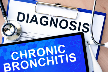 Form with word diagnosis and tablet with  Chronic bronchitis