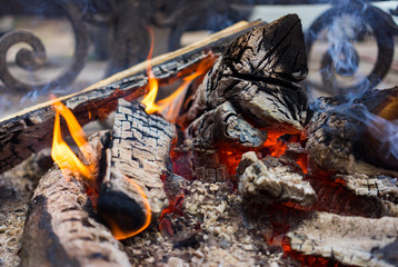 burning billets near the metal fence of the fireplace