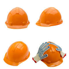 Set of construction helmet shot isolated on white
