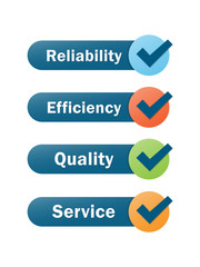 RELIABILITY EFFICIENCY QUALITY SERVICE icons with tick