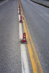 Delineatori flessibili, corsie carreggiate, strada