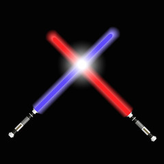 two red and blue light future swords fight eps10