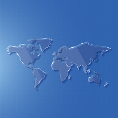 Glass world map edge line for science and technology concept