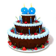 Birthday cake with number ninety