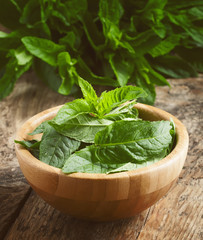 Fresh mint on an old wooden table, selective focus