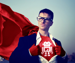 Robot Strong Superhero Success Empowerment Stock Concept