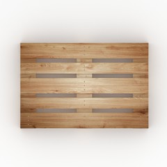 Wooden shipping pallet top view isolated on white background