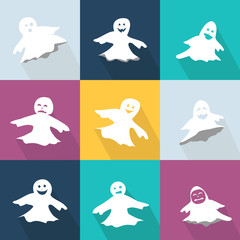 Icons set with funny ghosts for Halloween Party