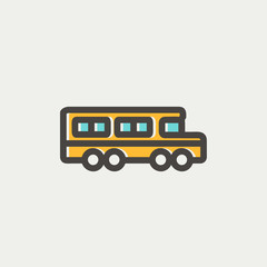 School bus thin line icon
