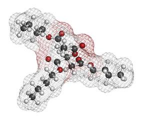 Acetyl tributyl citrate (ATBC) plasticizer molecule.