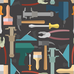 Construction tools seamless Pattern. Vector background