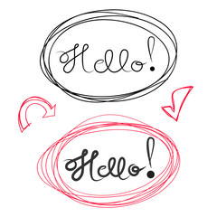 Hello hand draw lettering and Scribble Circles, vector elements