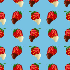 strawberries in dark and white chocolate. Seamless pattern