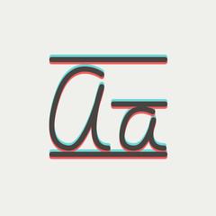 Cursive letter a thin line icon