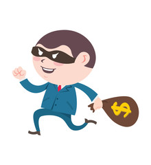 man wearing suit stealing a sack of money