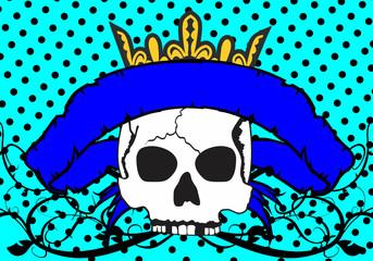 skull ribbon tattoo background in vector format