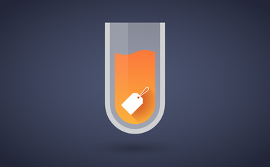 Orange chemical test tube icon with a shopping label