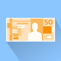 Brazilian Real Banknote Flat Design with Shadow