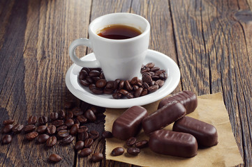 Coffee cup with chocolates