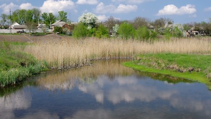 Spring landscape with small river Kagamlik in Ukraine