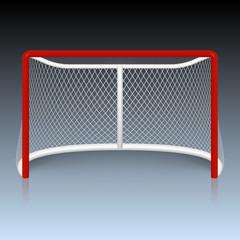 Vector red hockey goal, net.