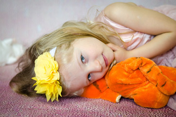 girl with plush toy