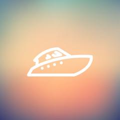 Speedboat thin line icon