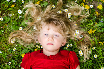 girl with  long blond hair relaxing