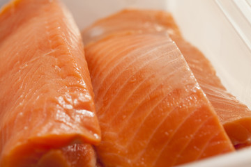 salmon, raw fresh orange piece of salmon fillet