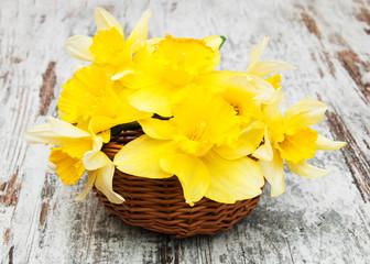 Basket with daffodils