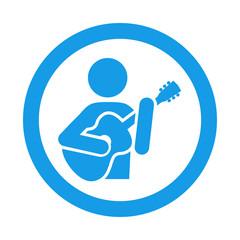 Icono redondo guitarrista azul