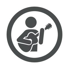 Icono redondo guitarrista gris