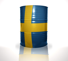 barrel with swedish flag on the white background