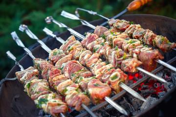 Fresh meat preparing on grill