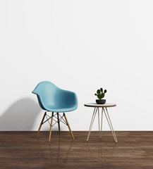 Modern blue chair with a side table with hairpin legs