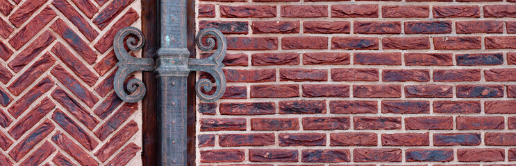 red brick wall with shod decor panoramic