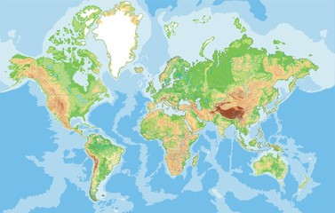 Highly detailed physical World map.