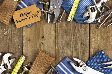 Fathers Day gift tag with frame of tools and ties on wood