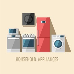 Set of household appliances. Vector flat illustration.