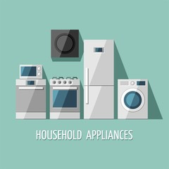 Set of household appliances. Vector flat illustration.